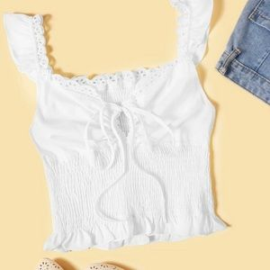 Embroidered Smocked Self Tie Cami Top